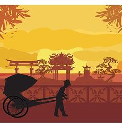 Chinese rickshaw vector image