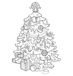 Christmas tree cartoon coloring book vector