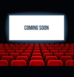 Cinema hall movie interior with coming soon text vector