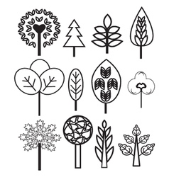 collection of Plants and Trees vector image