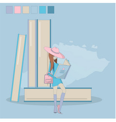 concept girl reading a book vector image