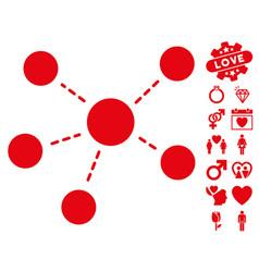 Connections icon with valentine bonus vector
