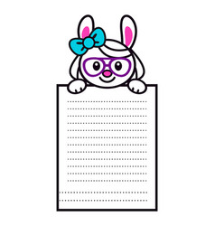 Cute cartoon bunny girl with big paper page vector