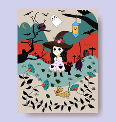 cute witch cartoon and halloween night vector image