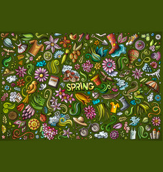 doodle cartoon set spring objects vector image