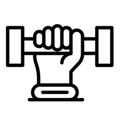 Dumbbell in hand icon outline style vector