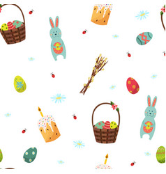 easter seamless pattern with bunny eggs willow vector image