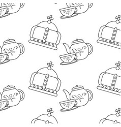 english culture teatime crown and teapot cup vector image