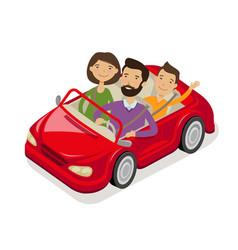 family travels car cartoon vector image