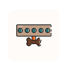 Flat color dog leash icon vector
