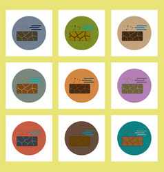 Flat icons set of cracked earth and wind concept vector