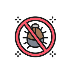 Forbidden sign with dust mites anti allergic vector