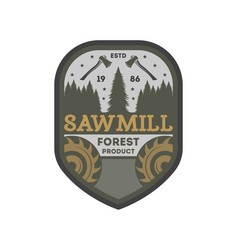 forest sawmill vintage isolated label vector image