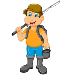 Funny Little boy fishing vector