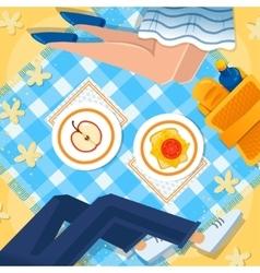 Girl and boy at the picnic vector image