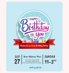 Happy birthday invitation design with circle blue vector