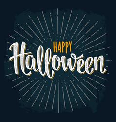 Happy halloween handwriting lettering on dark vector