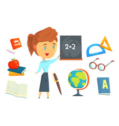 happy teacher standing next to a blackboard set vector image
