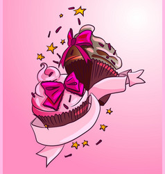 Home baked tasty delicious dessert decorated vector