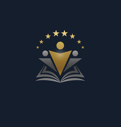 Human silhouette with book and stars logo vector