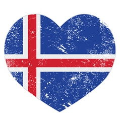 Iceland heart retro flag vector