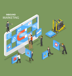 Inbound marketing flat isometric concept vector
