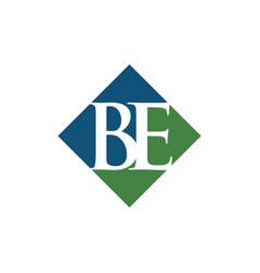 initial be rhombus logo design vector image