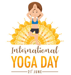 International yoga day banner with woman doing vector