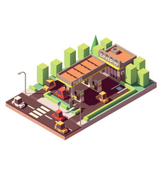 isometric gas station vector image