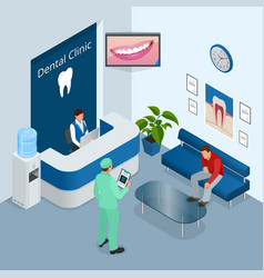 Isometric modern dental practice dental chair and vector