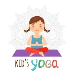 Kid yoga logo vector image
