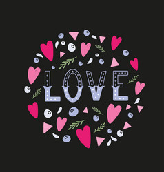 Love hand written word with decor elements vector