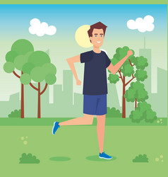 Man running in the park character vector