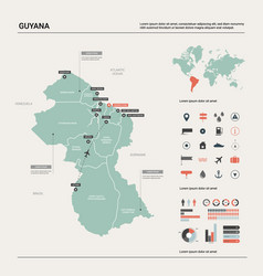 Map guyana high detailed country vector