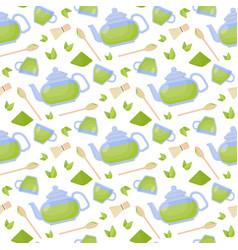 Matcha tea flat seamless pattern vector