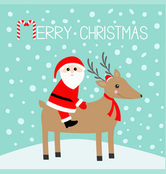 merry christmas santa claus cute cartoon deer vector image