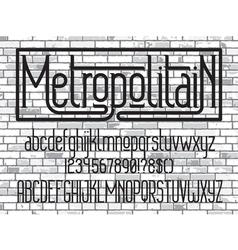 Metropolitain font Minimalistic typeface vector image