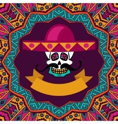 Mexican shugar skull with mustache and sombrero vector