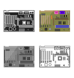 Motherboard icon in cartoon style isolated on vector