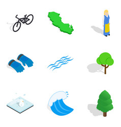 Nature time icons set isometric style vector