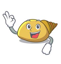 Okay mollusk shell character cartoon vector