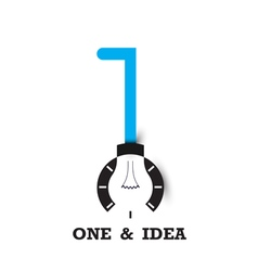 One number icon and light bulb abstract logo vector