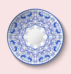 Patterned plate with blue ornament with birds and vector