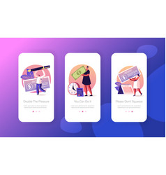 People get and signing paycheck mobile app page vector
