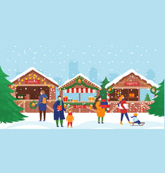 people in christmas market crowd characters vector image