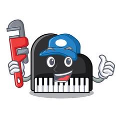 Plumber piano mascot cartoon style vector