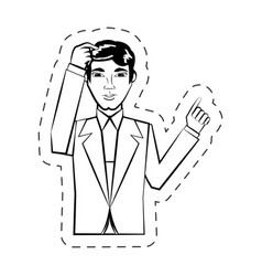 portrait man facial expression black and white vector image