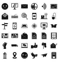 postal icons set simple style vector image