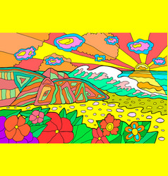 Psychedelic with seaside landscape vector