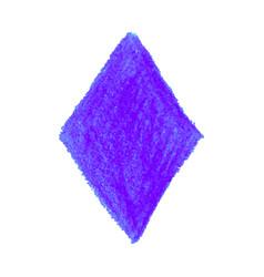 Purple crayon scribble texture stain rhombus shape vector